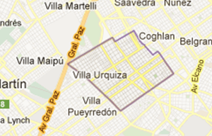 mapa de barrio Villa Urquiza, Capital Federal
